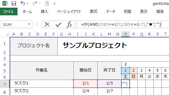 関数のガントチャート 数式の設定
