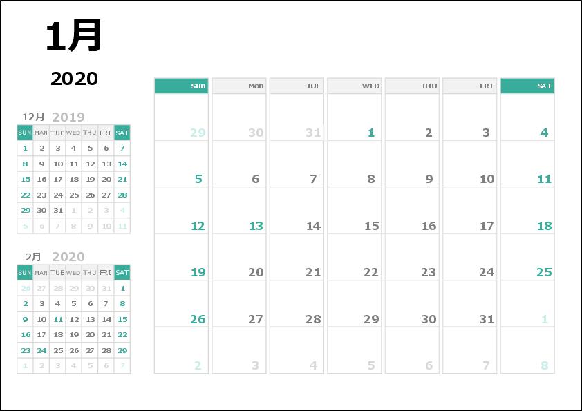 2020年エクセルカレンダー04 A4 1か月 祝日年度変更可能タイプ