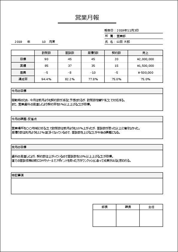 営業月報テンプレート03