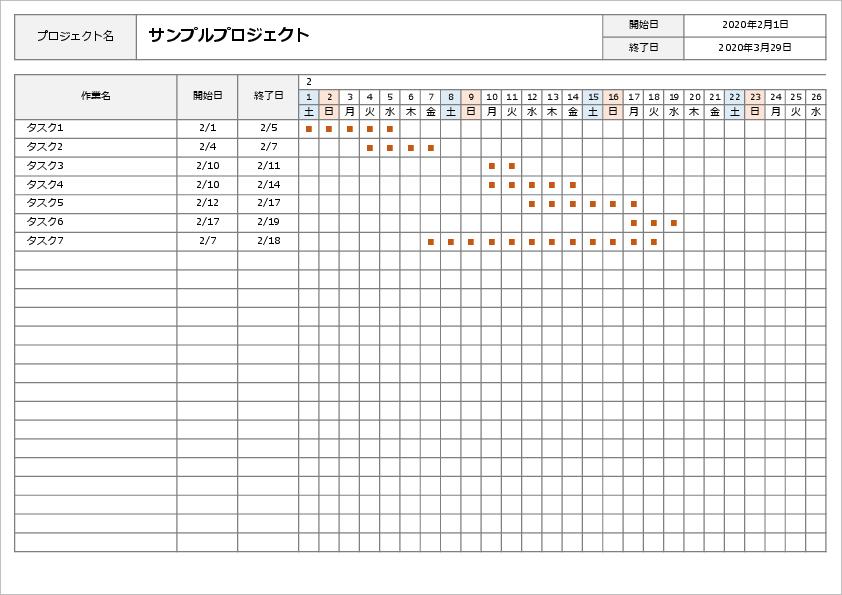 エクセル ガントチャート関数機能で作成