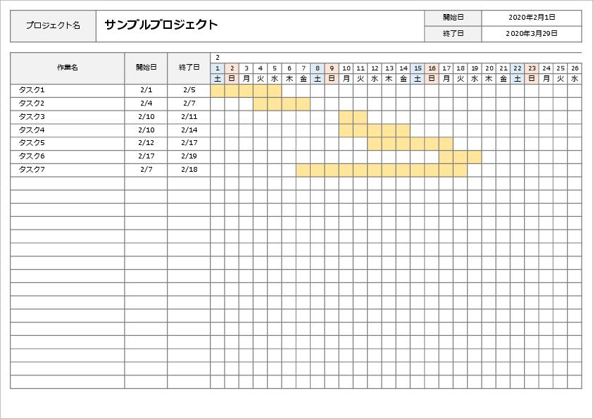 エクセル ガントチャート条件付き書式で作成