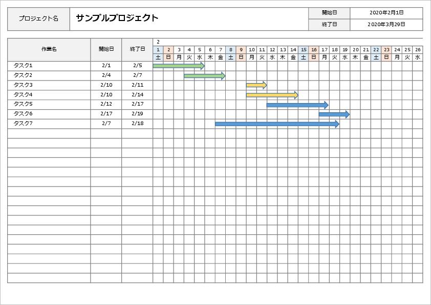 エクセル ガントチャート 手動-図形で作成