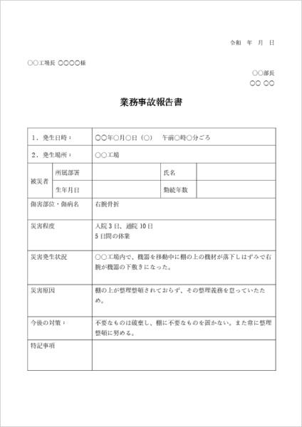 業務事故の事故報告書 例文テンプレート