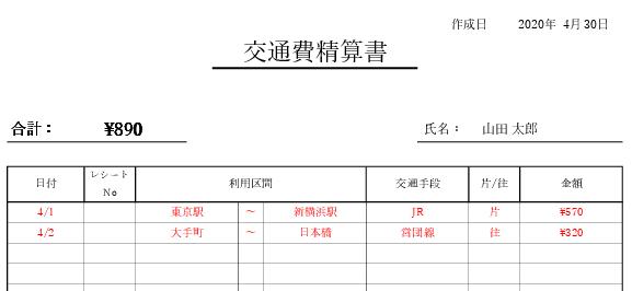 交通費精算書のサンプル