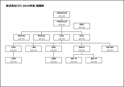 組織図テンプレート エクセル横01