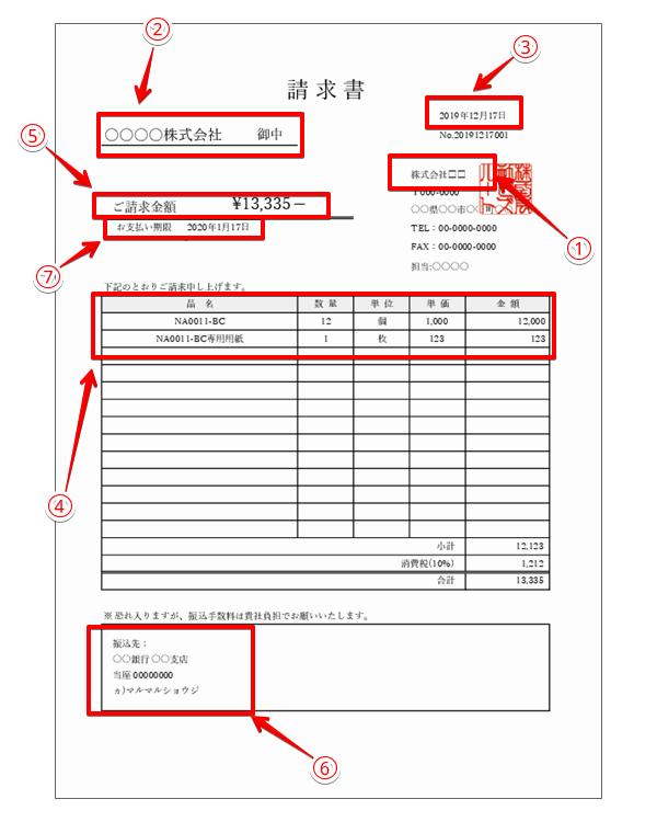 請求書の説明のサンプル
